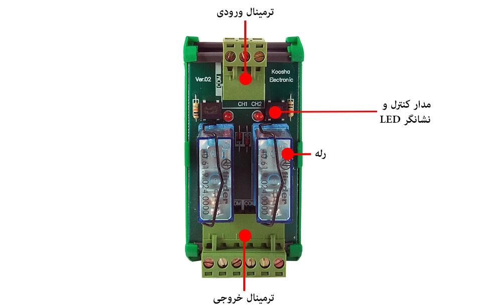 بخشهای مختلف رله برد 24ولت-۲تایی-رله فیندر