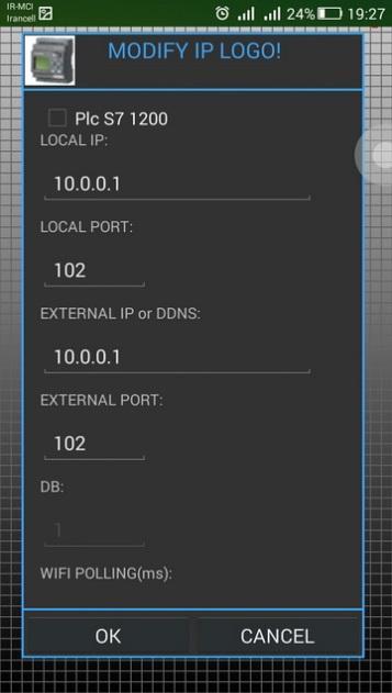 تنظیمات پورت و IP برای کنترل لوگو با WiFi