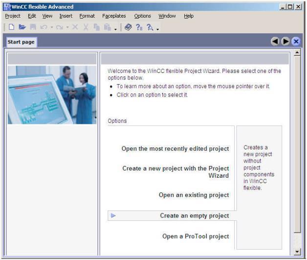 صفحه آغازین نرم افزار WinnCC Flexible