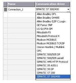 لیست Connection در نرم افزار