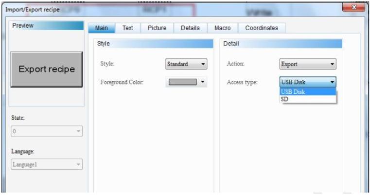 محل ذخیره در پنجره Export/Import Recipe