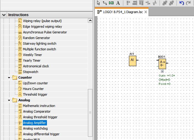 دستور Analog Amplifier در لوگو