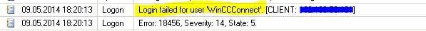 "خطای "" special"" SQL-Server users WinCCConnect and WinCCAdmin"