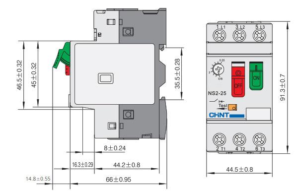 ابعاد کلید حرارتی چنت سری NS2-25