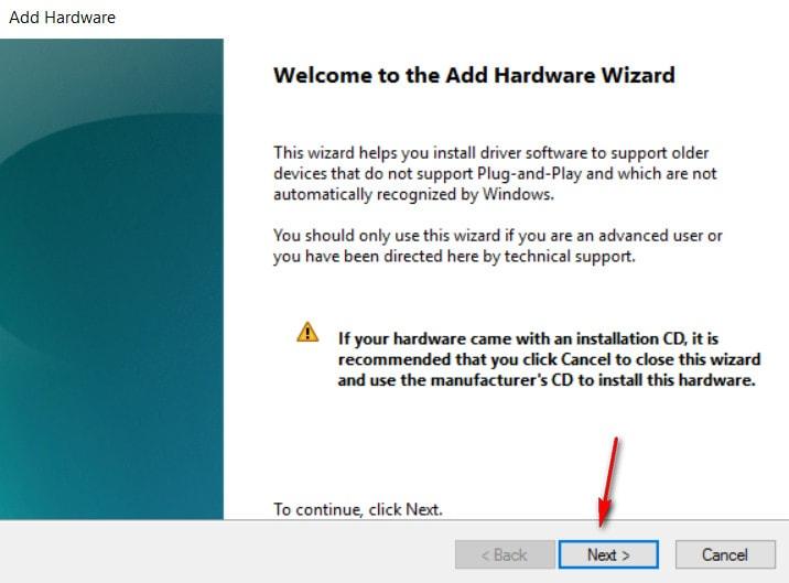 انتخاب next پنجره add legacy hardware
