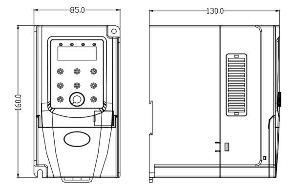 ابعاد درایو تکفاز 0.4 کیلووات سری B هانیکس
