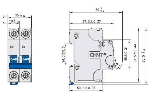 ابعاد کلید مینیاتوری 6KA دو پل NB7 چینت