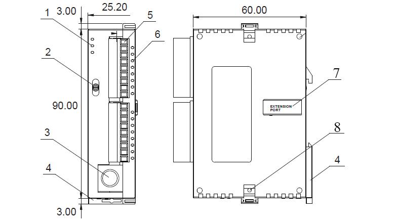 ابعاد و بخشهای مختلف DVP14SS211 دلتا