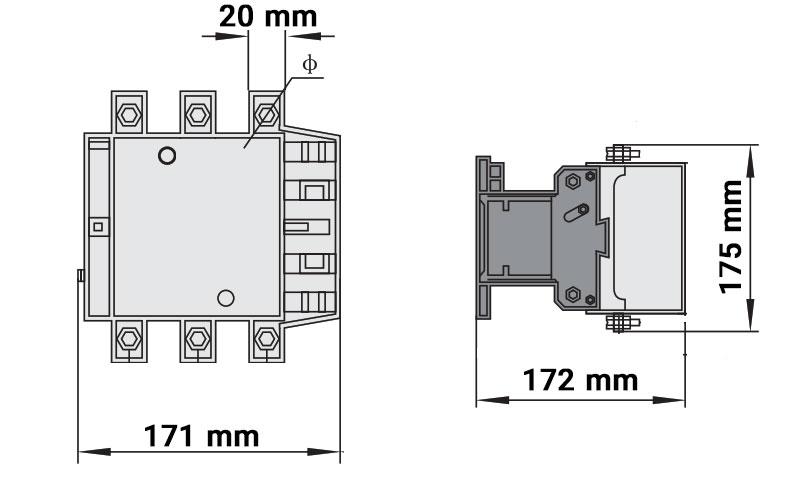 ابعاد کنتاکتور چینت 185 و 225 آمپر 220ولت