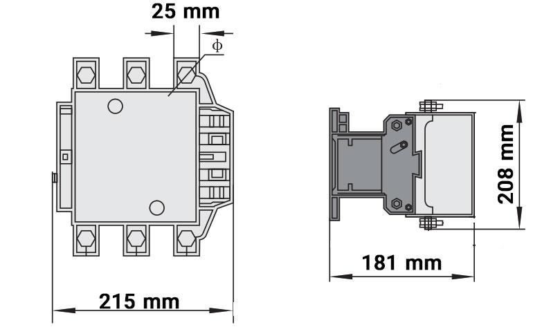 ابعاد کنتاکتور چینت 400 آمپر 220ولت