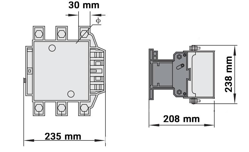 ابعاد کنتاکتور چینت 500 آمپر 220ولت