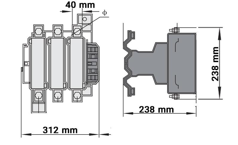 ابعاد کنتاکتور چینت 630 آمپر 220ولت