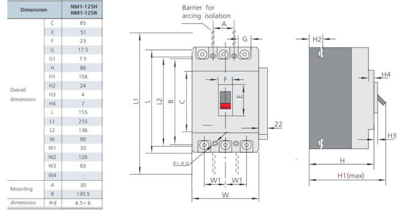 ابعاد کلید اتوماتیک سری NM1-125H چینت
