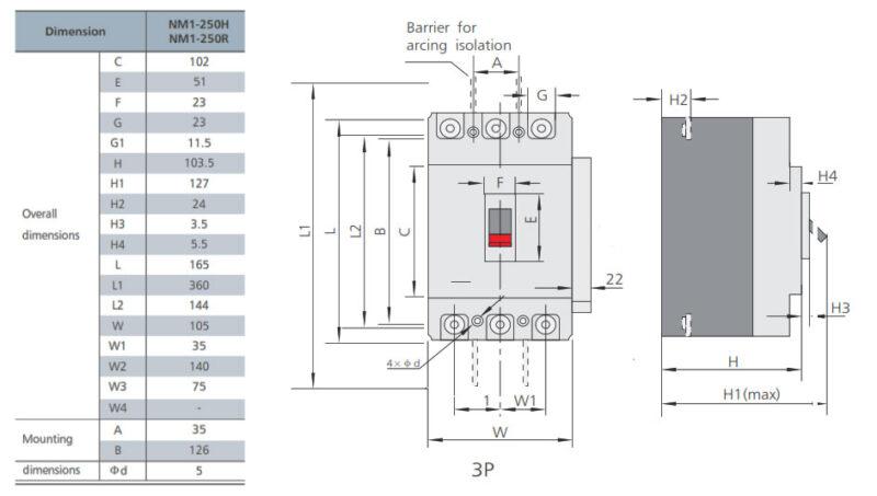 ابعاد کلید اتوماتیک سری NM1-250H چینت