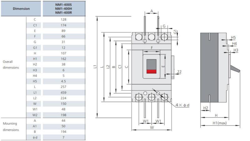 ابعاد کلید اتوماتیک سری NM1-400H چینت