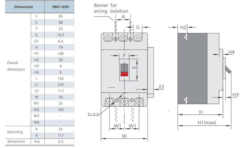 ابعاد کلید اتوماتیک سری NM1-63H چینت