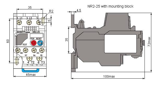 ابعاد بیمتال سری NR2-25