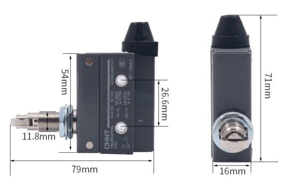 ابعاد میکروسویچ قابدار قرقرهای قابلتنظیم چینت 6/11HL